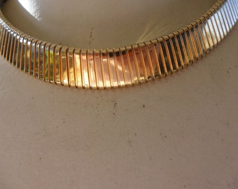 Authentic Vintage SIGNED CORO Gold Collar Choker Necklace PROM Wedding Bride Bridesmaid