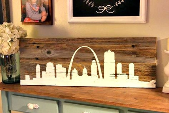 St. Louis Skyline on reclaimed wood - Louis Skyline On Reclaimed Wood
