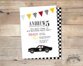 Vintage Mustang, Race Car, Birthday, Baby Shower Invite- 5x7 DIY Printable by Little Miss Missy