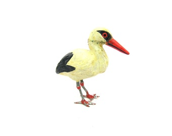 Miniature Bird Figure. European Stork Figurine. Painted, Metal Feet. Composition Plaster. Italy or Germany. Vintage 1920s Animal Collectible