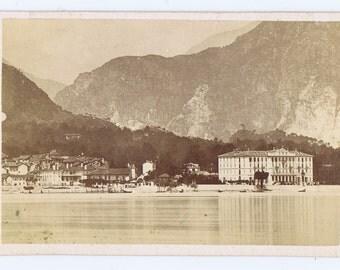 Antique Vintage Lake Maggiore 19thc Travel Carte de Visite Photograph Italy Swiss Alpine Mountain Scene