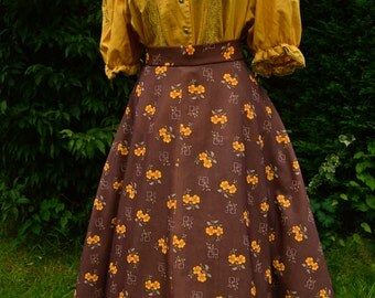 70s brown and yellow floral full swing skirt size M/L