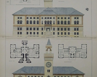 City Hall, Worcester, Massachusetts, 1896, Peabody & Stearns, Architects. Hand Colored, Original Plan, Architecture, Vintage, Antique