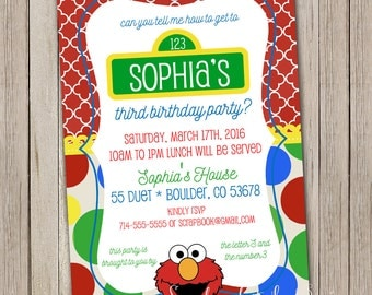 Elmo Birthday Invitation | Elmo Birthday Invitations | Elmo Invite | Elmo Birthday Party | Sesame Street Invitations | First Second Bday