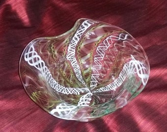 Vintage Murano Art Glass Mid Century Modern Latticino Ribbon Amoeba Bowl estate