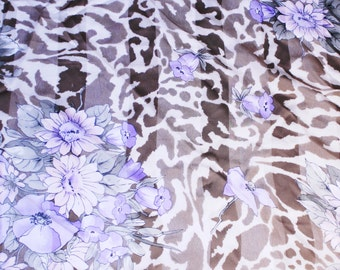 Vintage Floral Head Scarf, Animal Print Flower Patterned Scarf, Purple, Brown, Colors Scarf, Made in Italy Scarf
