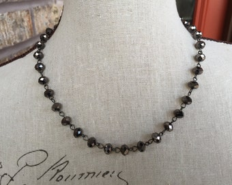 One strand gray crystal necklace,   One of a kind