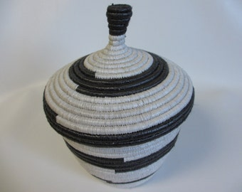 Large Black and White Handwoven African Basket with Lid, Great Gift Basket, Guys Gift Basket, Fair Trade Basket, Decorative Storage, Ugandan