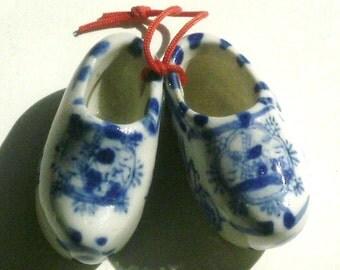 Vintage Pair Mini Delft Porcelain Shoes