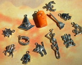 13 pc Halloween Charms Mix POTION Bottle Broom SKULL Cat Bat Fang Skeleton DIY Jewelry Making Gifts Crafts