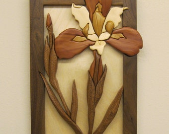 IRIS   16 , Intarsia hand carved  gift by Rakowoods, house warming gift, anniversaries, birthdays, Christmas, Cabin wall decor,home decor