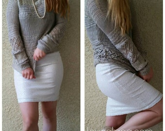 White Pencil Sequin Skirt 20 inches - Stretchy, beautiful knee length skirt (Small, Medium, Large, XLarge) Ships asap!