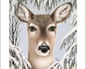 8x10 Art Print deer winter snow wildlife animal pine trees signed by artist free shipping Doe giclee A Quiet Encounter by Karen Romine