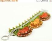 50% OFF Bracelet-Handmade Crochet Crystal Beadwork Luxury Statement Bracelet,Bohemian Style,Crochet Floral Cuff,Fiber Art