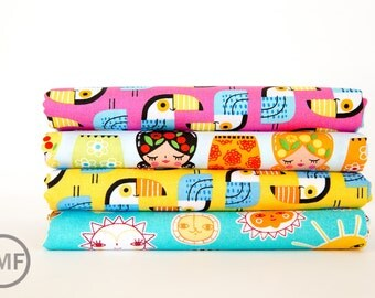 Little Senoritas in Fiesta, Fat Quarter Bundle, 4 Pieces, Suzy Ultman, 100% Cotton, Robert Kaufman Fabrics, ASD-16535