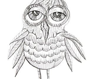 Big Eyed Owl-Original pen and ink drawing-bird art-art bird-hoot owl-whimsical-modern-simple-black and white-decor-art-fine art-birds-owls