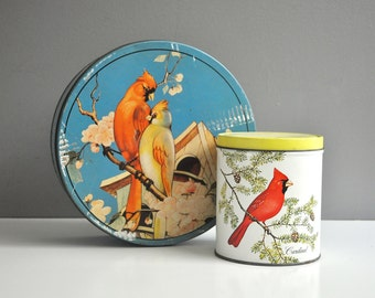 Pair of Vintage Cardinal Tins