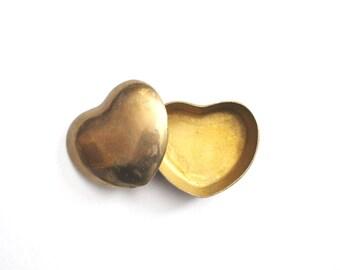 Vintage Brass Heart Box