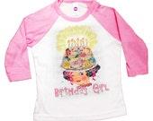 Birthday shirt tee shirt raglan, baseball style birthday girl party shirt Happy Birthday