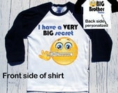 "Big Brother to be graphic tee hipster ""I have a BIG secret"" pregnancy announcement t-shirt,  emoji, zipper, emoticon"