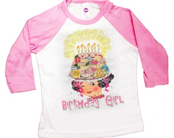 Birthday shirt tee shirt raglan, baseball style birthday girl party shirt Happy Birthday