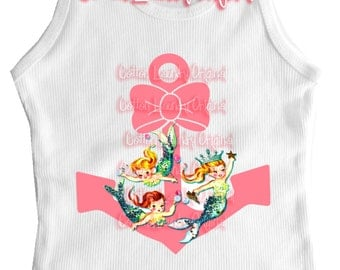 Anchor and Mermaids tee shirt, tank or one piece Vintage inspired Childrens tshirt ....