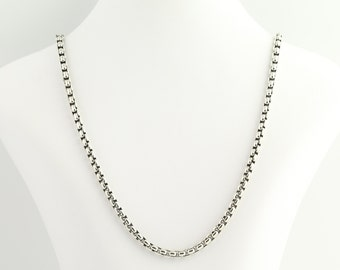 """Silver Box Chain Necklace 24 1/4"""" - Sterling Silver 5mm N120"""