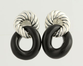 Curb Onyx Earrings - Sterling Silver Designer Pierced L9778