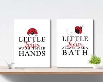 Printable Art Bathroom Wall Decor Wash Your Hands Girl Bathroom Art Prints
