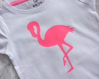flamingo tshirt.girls neon pink top. Flamingo.Girls tees.Gold clothing.Kids fashion.hot pink girls tee. Girls fashion.fashion for kids.