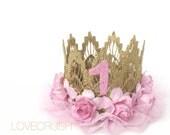 Ready to Ship|| First Birthday|| ballerina flower lace crown headband || Sienna || baby pink flowers || custom age