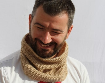 Brown Snood - Brown Scarf - Knitted Brown Scarf - Mens Scarf - Ready to ship