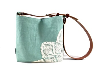 Cross Body Linen Hobo Bag with Vintage Doily