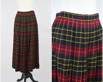 Vintage Gloria Sachs black, red and yellow plaid wool skirt / high waisted pleated skirt