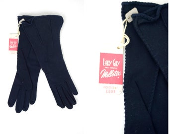Vintage Lady Gay long navy blue sueded cotton gloves / new with tags fancy evening gloves