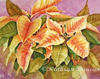 Poinsettia Flowers Watercolor Painting Print, Yellow, Red, Green, Violet, Floral Painting