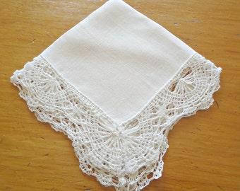 Handkerchief Hanky Hankie Hankys Antique Handkerchief Vintage White Crocheted Trim
