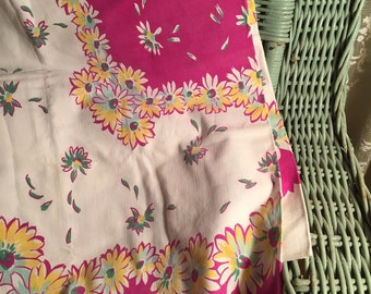 Adorable vintage tablecloth florals purples jadeite greens daisies cute for pillows purses curtains or use as a tcloth!