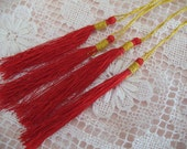 12  RED Silk TASSELS jewelry making