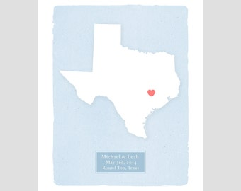 TEXAS - personalized print - Family history - Custom text Wedding gift Bridal shower Housewarming gift  Larger size for wedding guest book