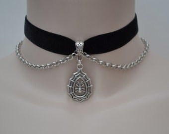 Large SPIDER COBWEB Charm & Chain BLACK Velvet Ribbon Choker Necklace -qf... or choose another colour velvet - made to size :)