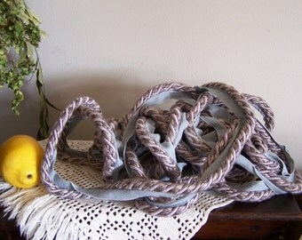 8 Yards Thick Twisted Braided Braid Trim/Cord = Shades of Lavender and Gray ..