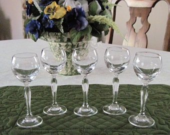 5 Vintage Crystal Glass Cordials By Spieglau Made In Germany