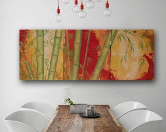 Asian Bamboo Painting, Oriental Style, Iridescent Metallic Red & Gold, Silver Wall, Original Abstract Painting on Canvas Huge 60x24 Day
