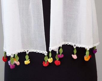 Summer scarf ,white,turkish oya scarf,hand crocheted  lace scarf ethnik ,authentique crocheted edge scarf