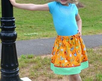 Animal Alphabet  Skirt in Golden orange  (2T, 3T, 4T, 5, 6, 7, 8, 10)