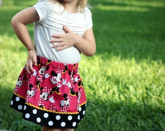 Skirt made with authorized Disney  fabric Minnie Modeling  (12 mos, 18 mos, 24 mos, 2T, 3T, 4T, 5T, 6, 7)
