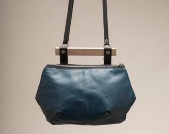SALE steel blue leather bag, blue leather bag, wood & leather handbag, leather purse, evening bag, leather clutch bag, handmade, evening bag