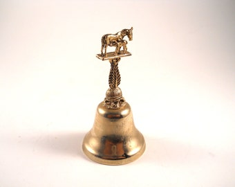 Horse with Colt Brass Bell Rare Collectible