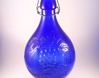 Beautiful Blue Large Wine Bottle Vintage